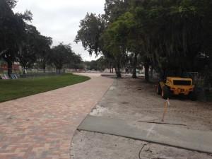 The new pedestrian walkway.