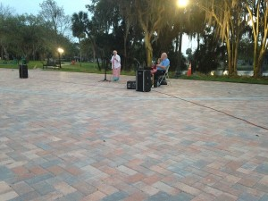 About 150 people took advantage of the new brick area in Sims Park for an Easter Sunrise Service.